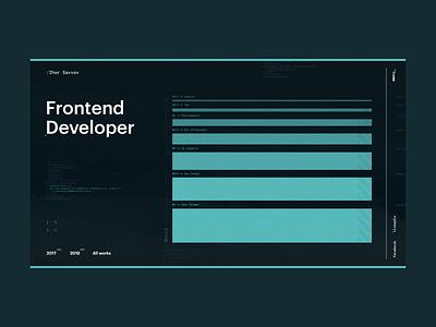 Frontend Developer Portfolio Concept tech cyberpunk technology design code skills green hitech concept portfolio front-end frontend