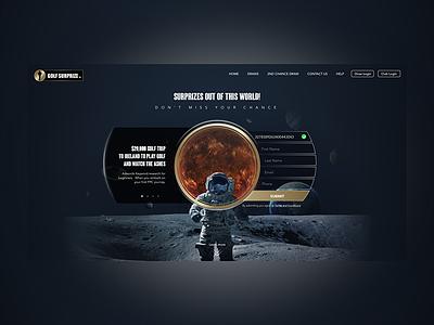 Golfsurprize moon astronaut space advertising rewards surprizes golfing