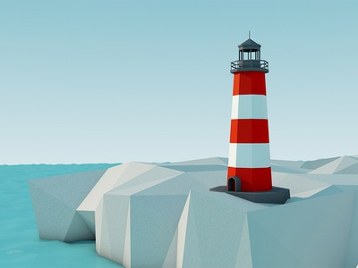 Light Tower light tower sea rock red white blue low poly