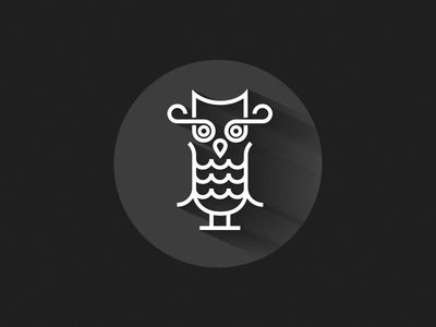 Owl owl grey shadow flat line white