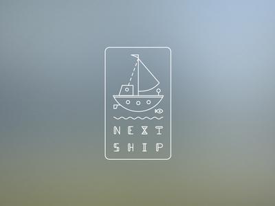 Next Ship next ship logo line blur ship fish blue green water wave