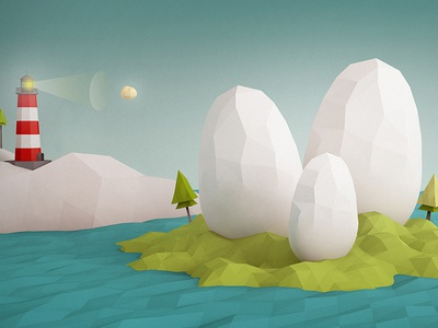 Birth of the Choppers chopper levifignar lighthouse island trees blue green low poly spaceship moon stars