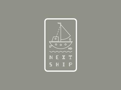 Next Ship next ship logotype custom type fish logo