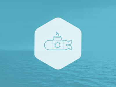 Submarine wip submarine logo graphic blue hexa
