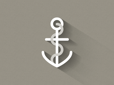 Anchor anchor flat long shadow rope stripe illustration