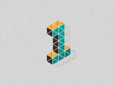 1 one 1 number isometric typography triangle