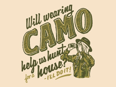 House Hunting Woes vintage retro portrait camo hand lettered procreate hand lettering