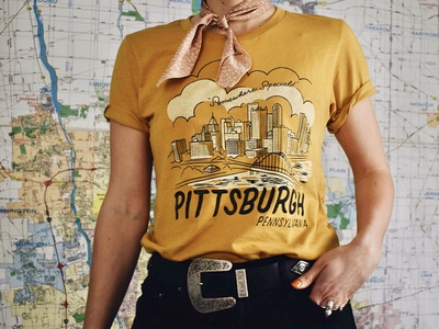 Pittsburgh Design | Steel City building clouds t-shirt design retro illustration cityscape city pittsburgh steel city