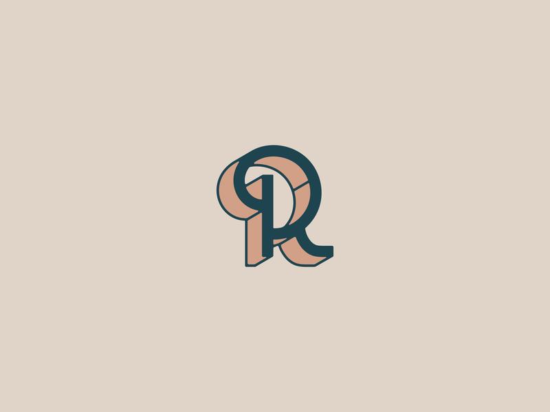 R WIP wip long shadow r branding brand identity lettermark brandmark