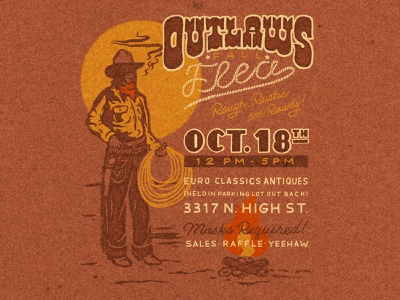 Outlaws Fall Flea yeehaw handlettering illustration poster western cowboy