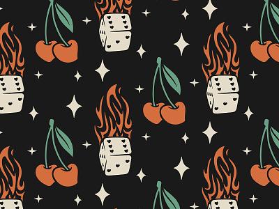 Flamin' Dice and Cherries icon logo cherry dice brand identity branding retro procreate illustration
