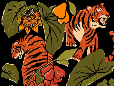 Three Tigers Brewing Co. Poster Detail design hand lettered retro procreate hand lettering illustration