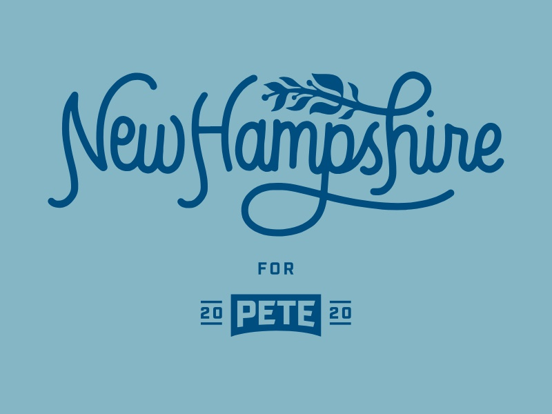 New Hampshire pete for america pete 2020 campaign procreate script lettering hand lettered hand lettering illustration