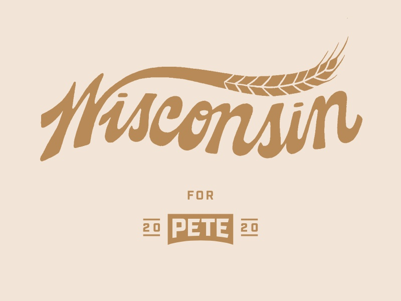 Wisconsin for Pete pete 2020 pete for america campaign script procreate lettering hand lettered hand lettering illustration