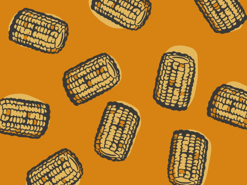Corn on the Cob Pattern pattern picnic food bbq cookout corn on the cob corn vector art food illustration illustration