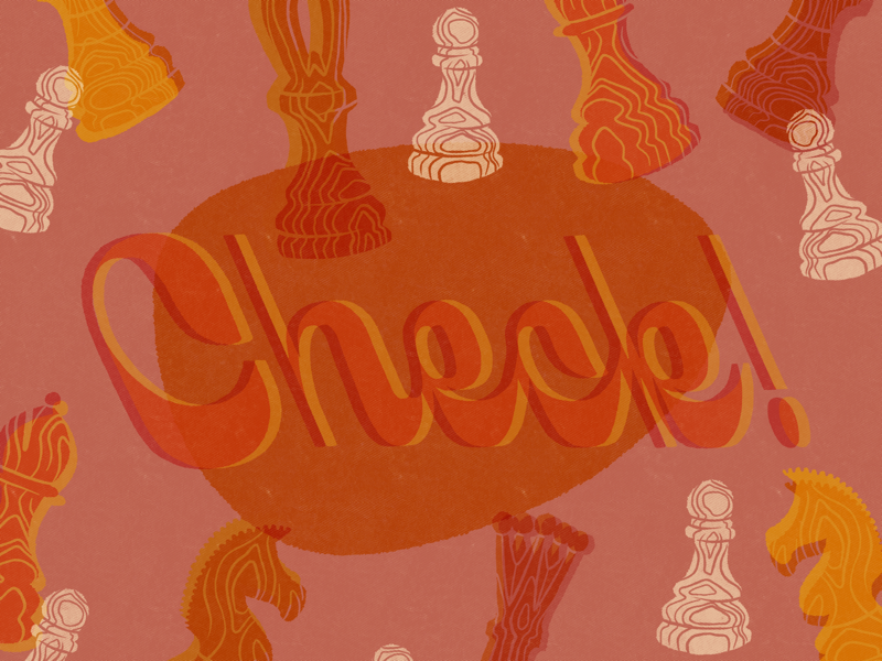Check! halftone texture retro hand lettered hand lettering game chess