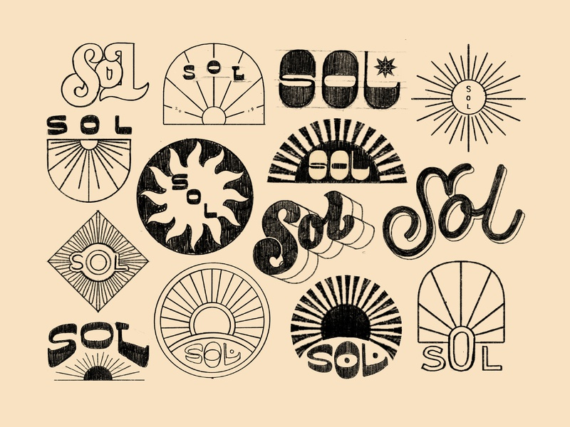 Sol Sketches branding retro groovy sol sun lettering hand lettering illustration