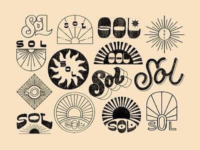 Sol Sketches branding retro groovy sol sun lettering hand lettering illustration