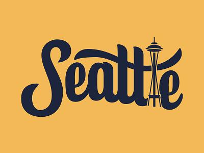 Seattle space needle usa washington seattle custom type vector procreate illustration hand lettering