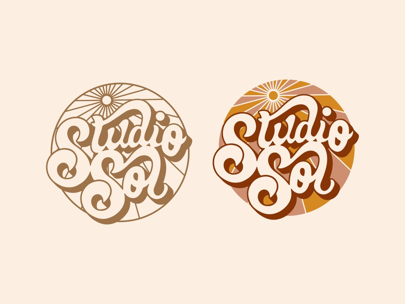 Sol Primary Logos swash ligature script typography long shadow 70s retro brand identity branding hand lettering logo design logo sun sol