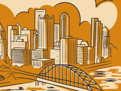 Pittsburgh Skyline Preview pittsburgh tshirt illustration bridge cloud building city city scape cityscape skyline