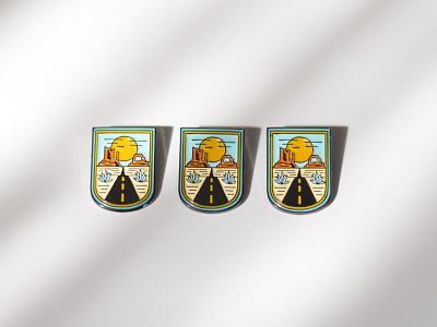 Custom Soft Enamel Pins road sun badge utah desert brand identity branding lapel pin soft enamel enamel pin