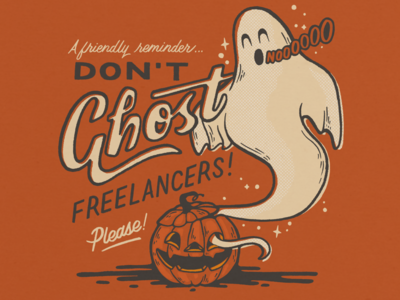 Don't Ghost Freelancers procreate spooky jack-o-lantern pumpkin ghost halloween script retro hand lettering doodle illustration