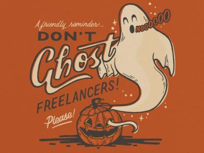 Don't Ghost Freelancers procreate spooky jack-o-lantern pumpkin ghost halloween script retro hand lettering doodle illustration
