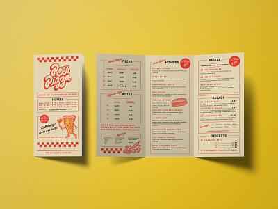 Pop's Pizza To Go Menus mockup brochure hand lettering illustration menu restaurant retro brand identity logo design branding pizza