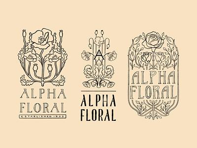 Branding Sketches procreate branding illustration retro hand lettering rose poppy floral art nouveau logo design brad identity