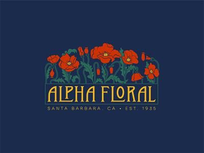 Alpha Floral artist floral poppy art nouveau hand lettered logo design logo brand identity branding procreate illustration retro hand lettering