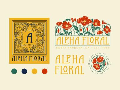Alpha Floral Flash Sheet art nouveau floral branding logo design brand identity procreate retro hand lettering illustration