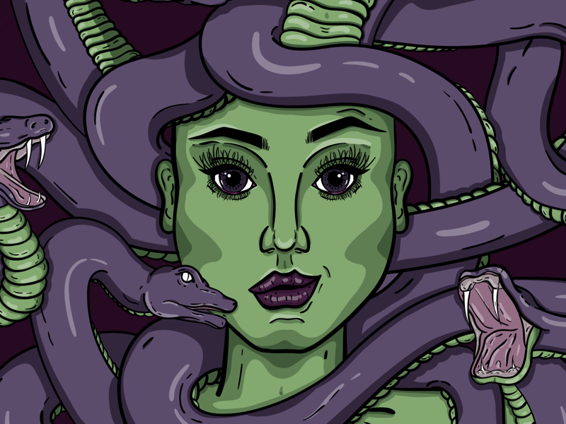 Medusa   detail 2 female woman new york city wacom adobe illustrator illustration snakes mythology medusa