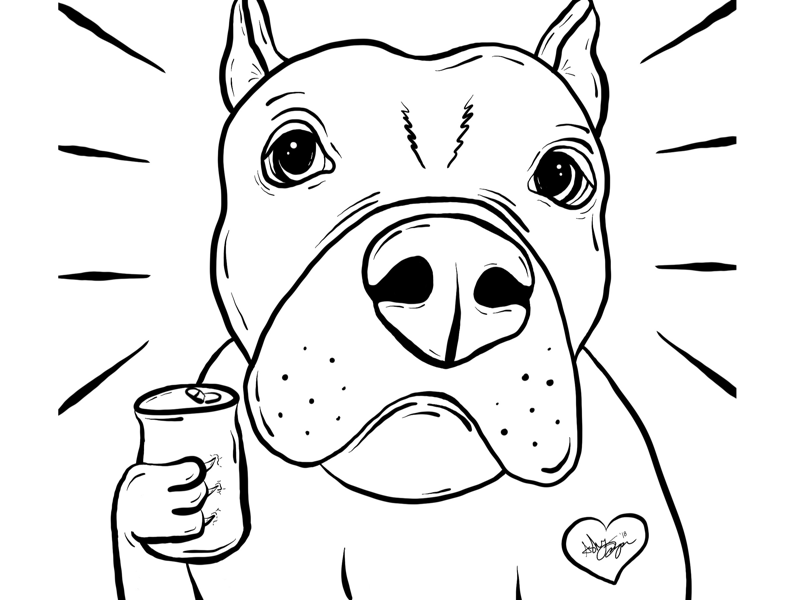 Beer Crushin´ Bully nyc brooklyn black illustration black work beer dog pitbull line work lines black and white illustrator illustration