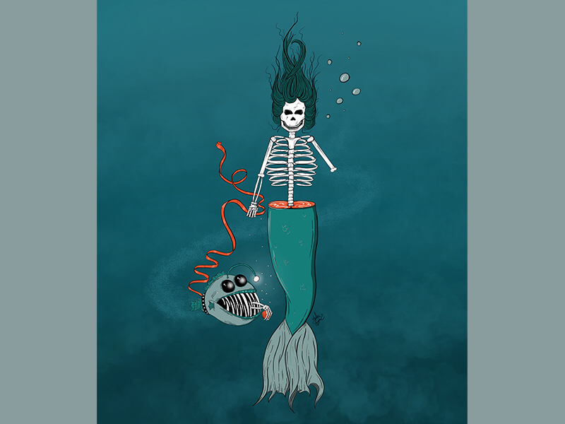 FETCH death mermaid under the sea illustrator color procreate ipad line work illustration