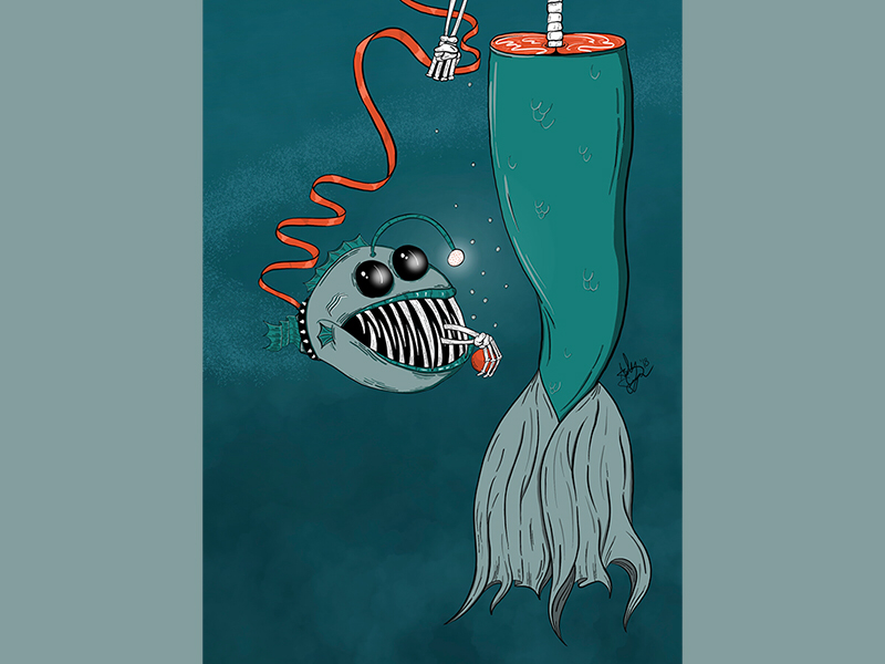 FETCH   detail 1 death mermaid under the sea line work color illustrator illustration ipad procreate