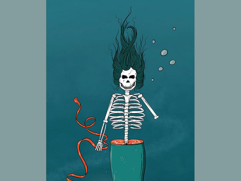 FETCH | detail 2 death mermaid under the sea line work color illustrator illustration ipad procreate