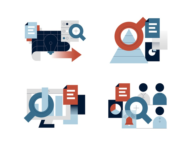 Dialog Solutions Website Illustrations technology tech reviews research peer-reviewed information illustration icons