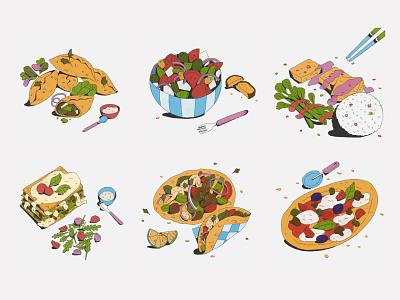 Food Diary 2020 ingredients meet free tacos lasagne pizza greek salad food diary cooking recipe food illustration