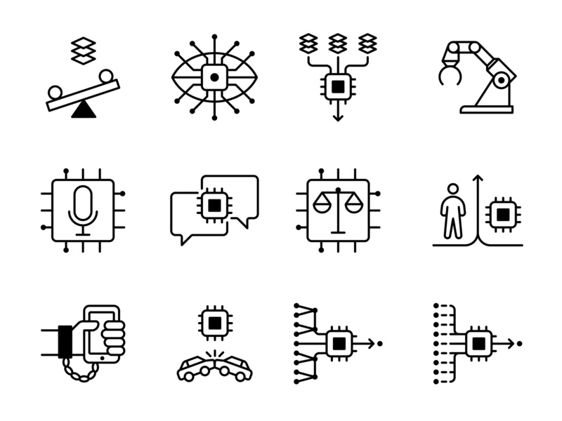 Artificial Intelligence technology data artificial intelligence icon illustration