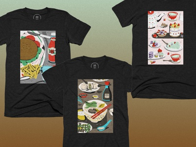 Food Triptych Collection tees illustration food