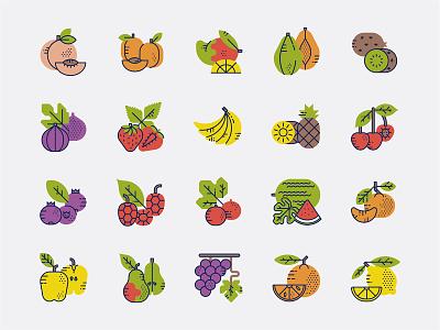 Tutti Frutti Icon Set mango lemon kiwi hazelnut grapes fig currant coconut chestnut cherry cantaloupe blueberry banana apricot apple icon design fruit illustration icon