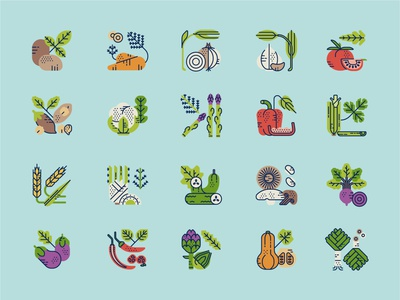 Veggie Bites Icon Set