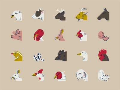 Meat and Eggs Icon Set