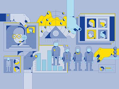 The data driven CEO editorial design report infographic illustration