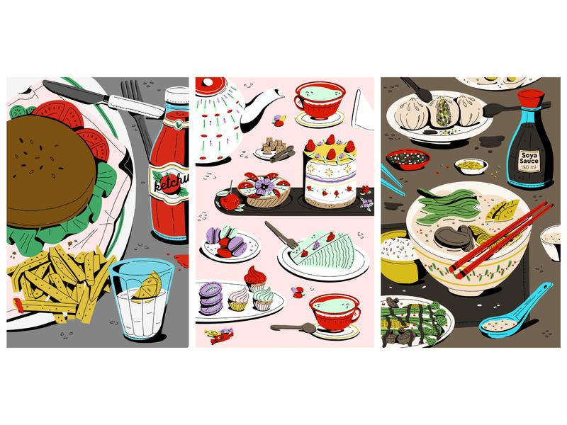 Food Triptych noodles burger dessert food illustration