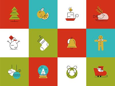 Christmas icons set icon illustration