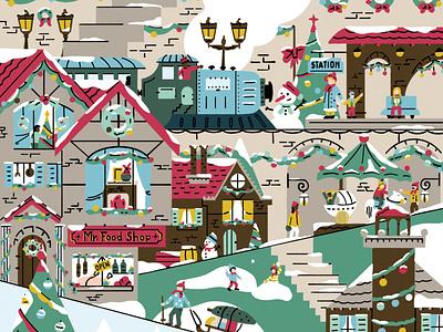 Christmas Village 2019 illustration christmas