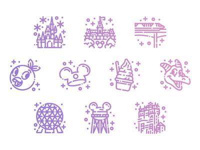 Disney World Icons icons dole whip monorail epcot magic kingdom wdw disney world disney cute line art icon set icon pack icon