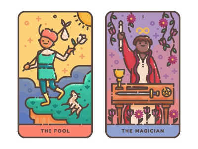 The Fool + The Magician magic cards cute flat illustration magician fool occult tarot vector illustration digital illustration illustration